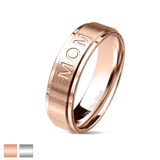 "Mother ""Love You Mom"" Engraved Band Ring"