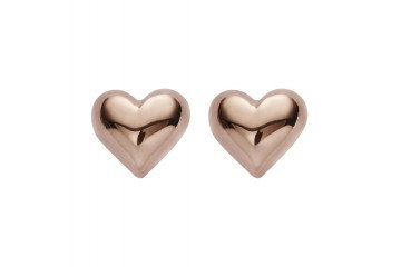 LOVE HEART 18K ROSE GOLD PLATED STUD EARRINGS