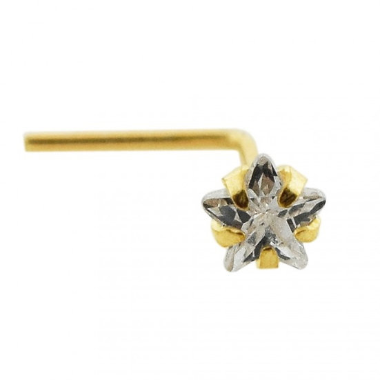 Solid 9K Yellow Gold Star Diamond L Shape Bent Elbow Nose Stud