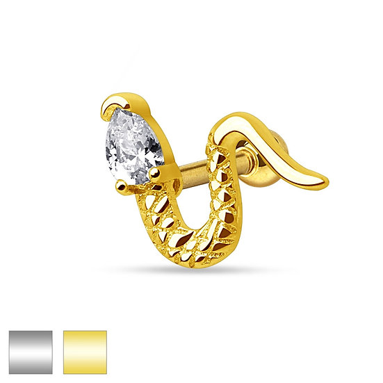 DIAMOND SNAKE CARTILAGE TRAGUS HELIX BODY STUD EARRING