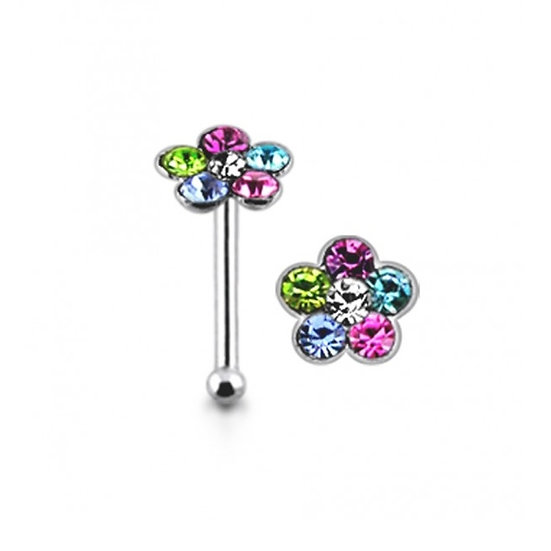 925 Sterling Silver Coloured Daisy Flower Nose Stud