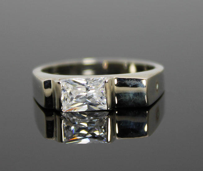 Silver Mens Womens Diamond Ring