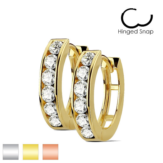 CHANNEL SET SIMULATED DIAMOND HUGGIE EARRINGS