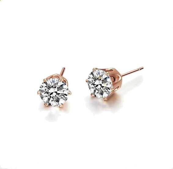 SIMULATED DIAMOND 18K ROSE GOLD PLATED STUD EARRINGS