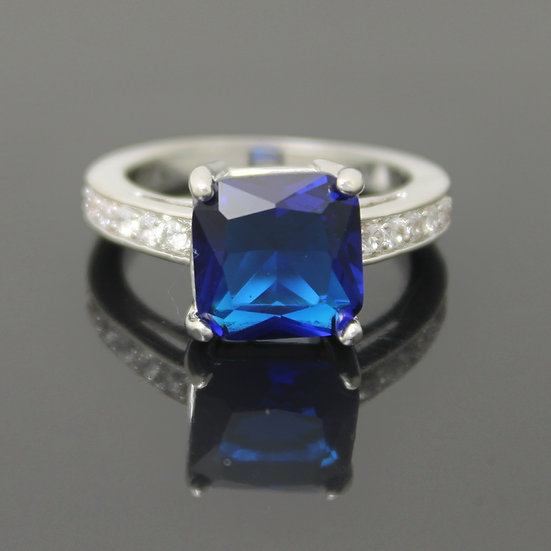 SEPTEMBER BIRTHSTONE SAPPHIRE BLUE CZ SQUARE STERLING SILVER PLATED RING