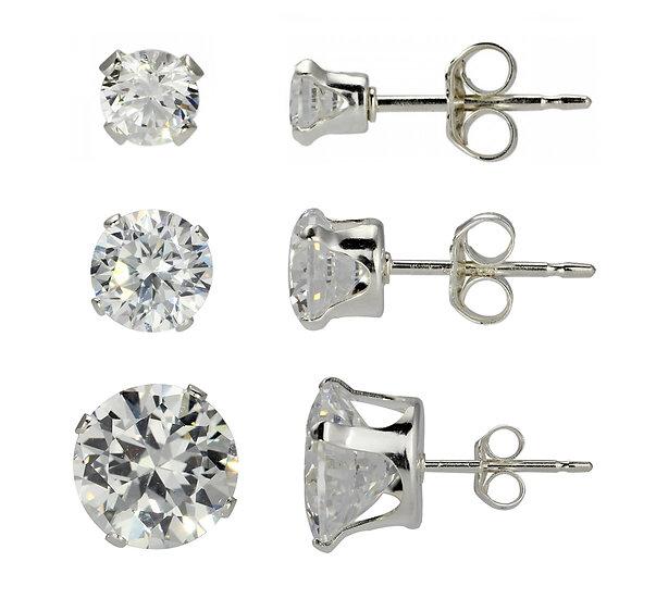 Sterling Silver 8mm & 5mm & 3mm Diamond Stud Earrings