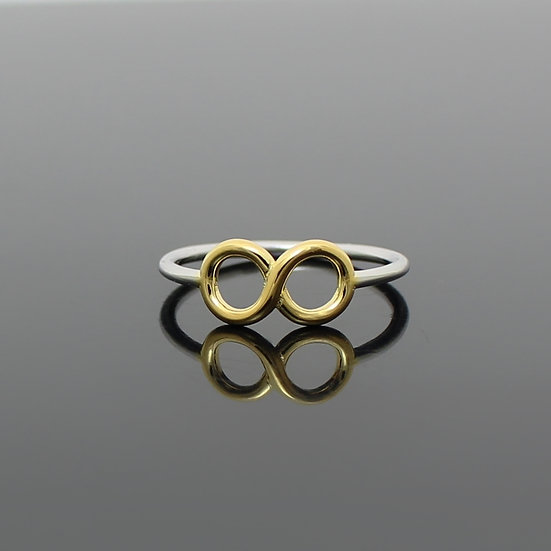 Forever Love Infinity Yellow Gold Sterling Silver Ring