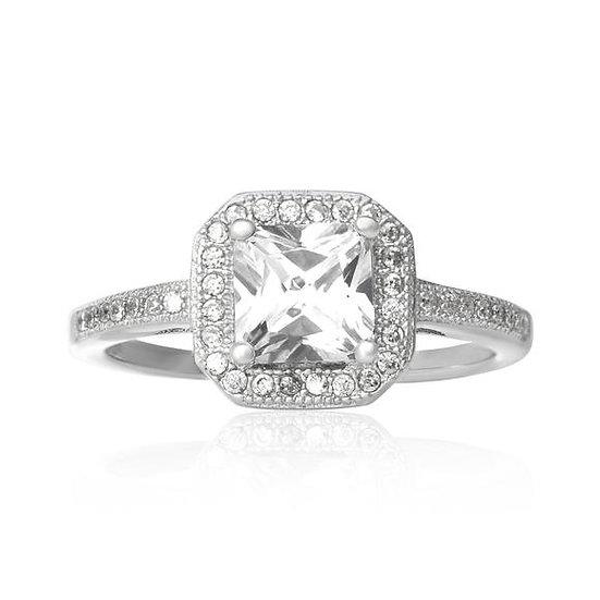 925 Sterling Silver Princess Cut Simulated Diamond Ring