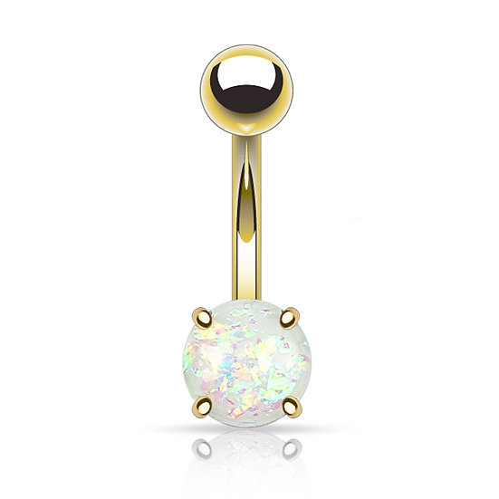 YELLOW GOLD IP GLITTER OPAL BELLY NAVEL RING