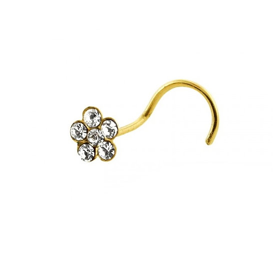 9K SOLID YELLOW GOLD FLOWER SCREW NOSE PIN STUD