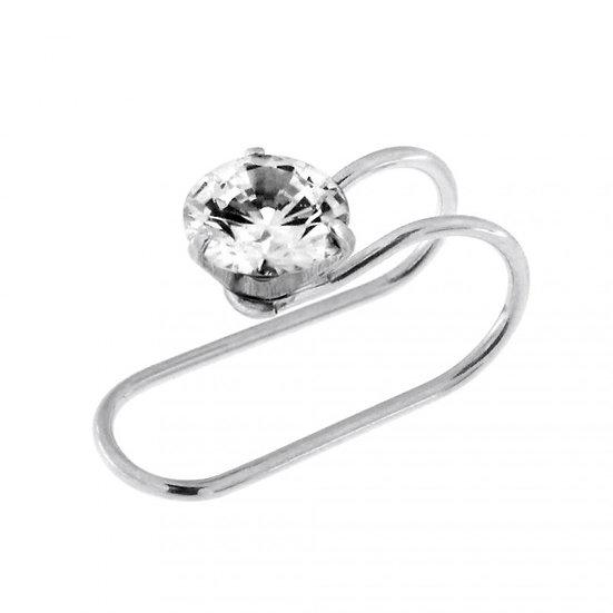 DIAMOND SILVER EAR CUFF CARTILAGE WRAP EARRING