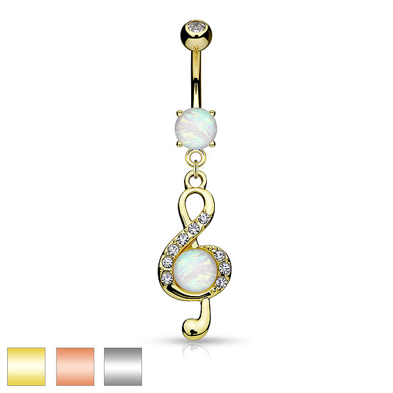 OPAL TREBLE CLEF MUSIC NOTE BELLY NAVEL RING