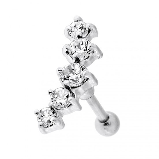 Diamond Crescent Cartilage Tragus Helix Stud Bar