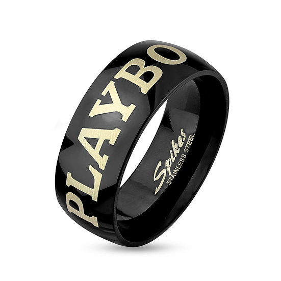 PLAYBOY BLACK STAINLESS STEEL RING