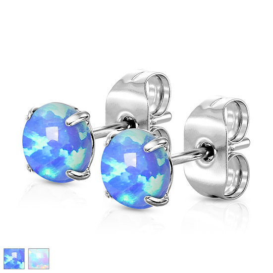 Round Opal Stud Earrings