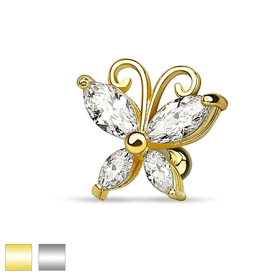 SIMULATED DIAMOND BUTTERFLY TRAGUS HELIX STUD