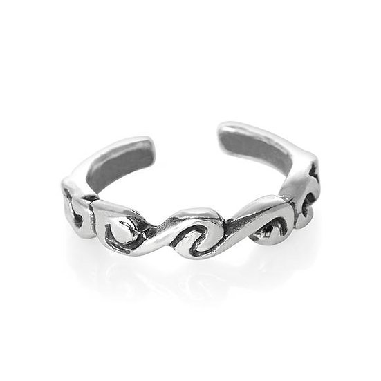 Real 925 Sterling Silver Swirl Midi Toe Ring