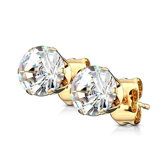DIAMOND 14K YELLOW GOLD STUD UNISEX EARRINGS