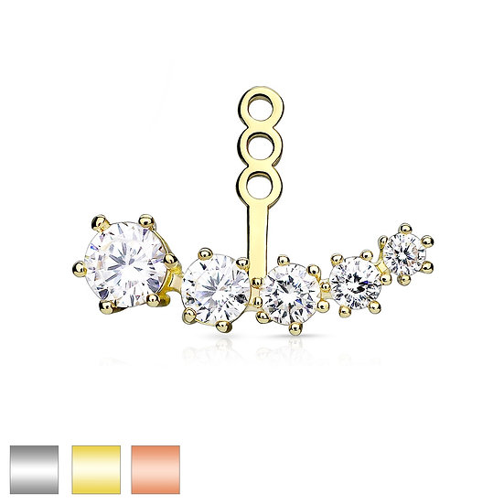 DIAMOND EARRING STUD CARTILAGE ADD ON DANGLE JACKET