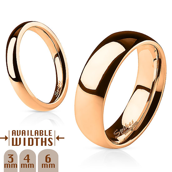 Glossy Mirror Polished Rose Gold Wedding Band Ring