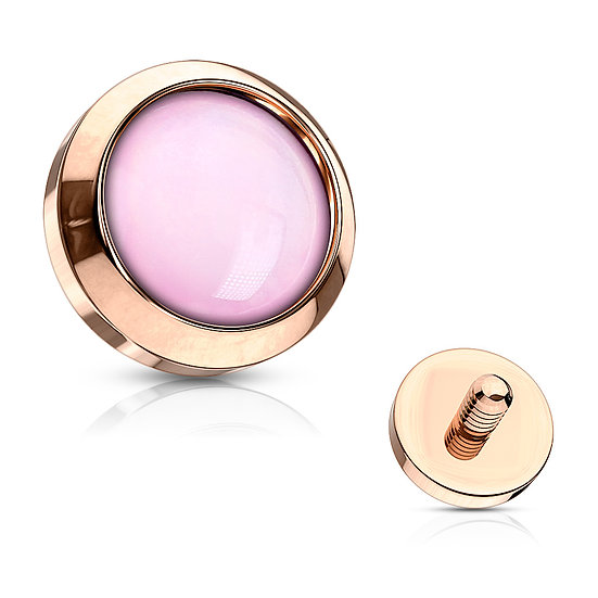 PINK OPAL ROSE GOLD DERMAL PIERCING IMPLANT TOP