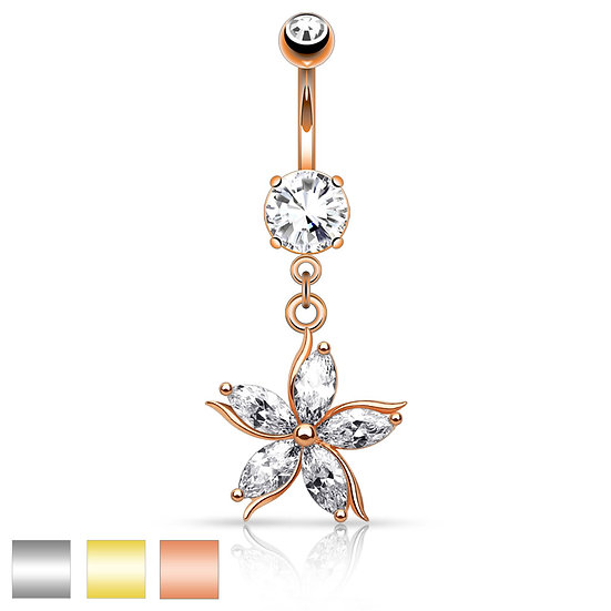 ROSE GOLD DAISY FLOWER DANGLE BELLY BUTTON NAVEL RING