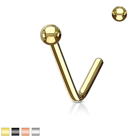 MICRO BALL L SHAPED BENT BEND UNISEX NOSE PIERCING STUD
