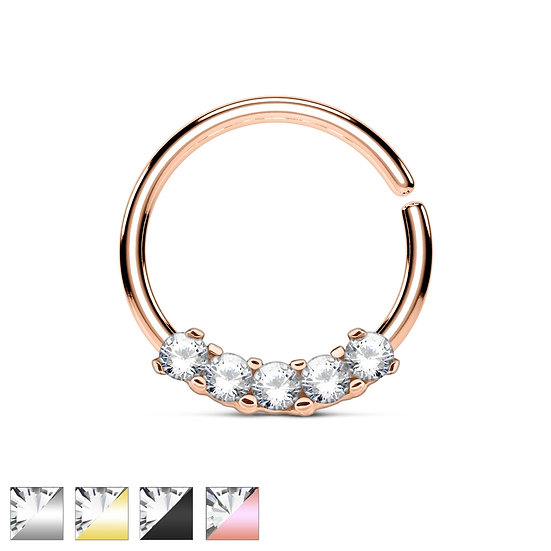 FIVE SIMULATED DIAMONDS ANNEALED BENDABLE HOOP EAR SEPTUM RING