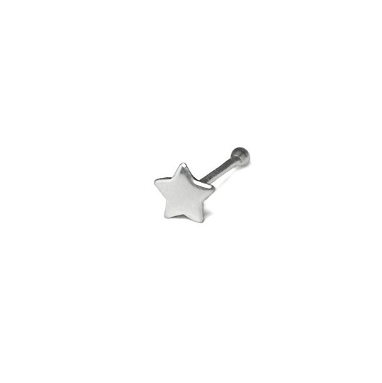 Real Solid 925 Sterling Silver Star Nose Ball End Stud