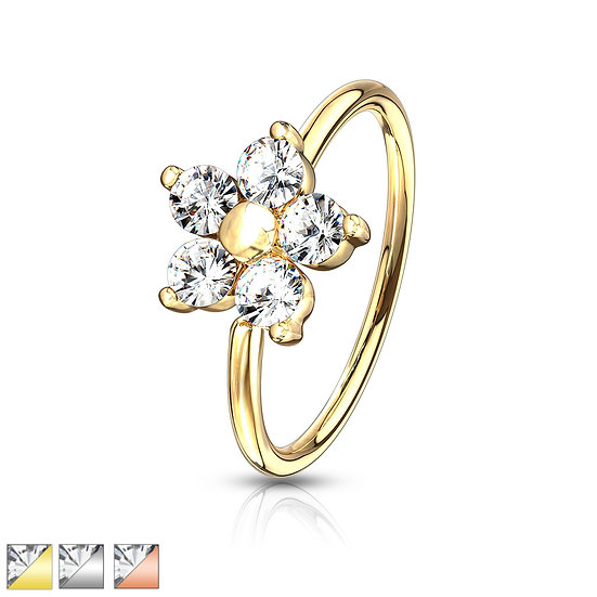 Diamond Flower Bendable Nose Hoop Ear Ring