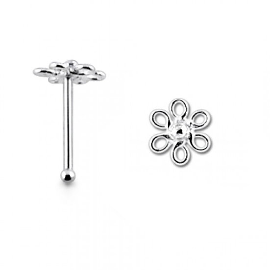 Solid Sterling Silver Daisy Flower Nose Bone Stud