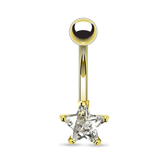 DIAMOND STAR YELLOW GOLD BELLY BUTTON RING