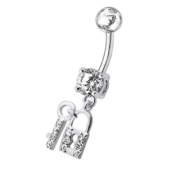 STERLING SILVER LOCK & KEY DIAMOND BELLY RING