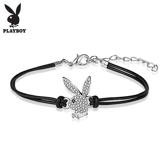 Diamond Playboy Bunny Head Black Leather Bracelet