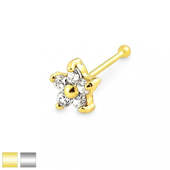 Real 14k Gold Daisy Flower Nose Piercing Ball End Stud