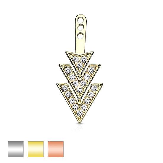 TRIPLE TRIANGLE DIAMOND EARRING STUD CARTILAGE ADD ON DANGLE J