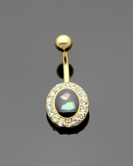 MOTHER OF PEARL YELLOW GOLD IP NAVEL BELLY RING