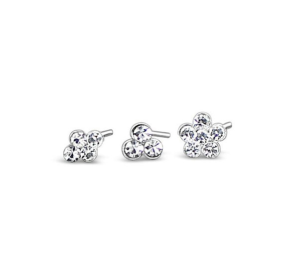 3pcs Clear Crystal  Nose Piercing Stud Set