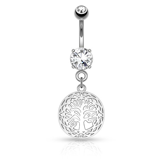 BODY JEWELLERY FAMILY TREE OF LIFE PENDANT SILVER BELLY BUTTON NAVEL RING