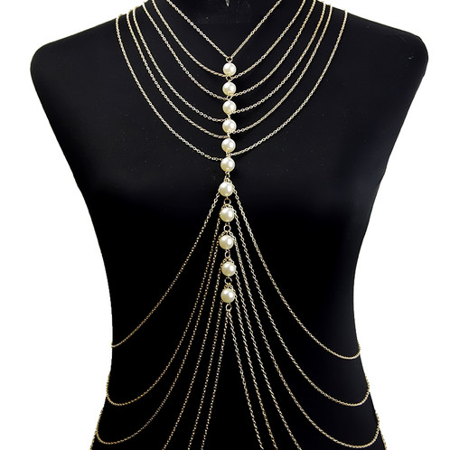 PEARL CHANDELIER GOLD BODY CHAIN Jewellery Online Boutique Body