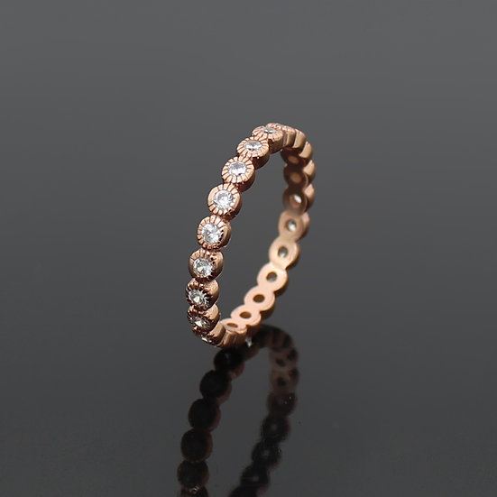 Simulated Diamond Rose Gold Sterling Silver Dot Eternity Band Ring