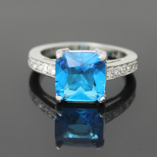 AQUAMARINE CZ SQUARE COCKTAIL STERLING SILVER PLATED RING