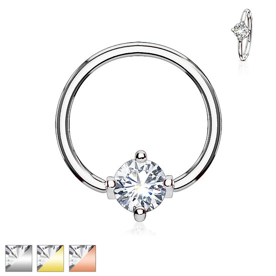 DIAMOND NOSE SEPTUM BENDABLE HOOP RING