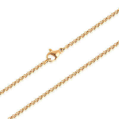 YELLOW GOLD 2MM ROLO CHAIN MENS NECKLACE