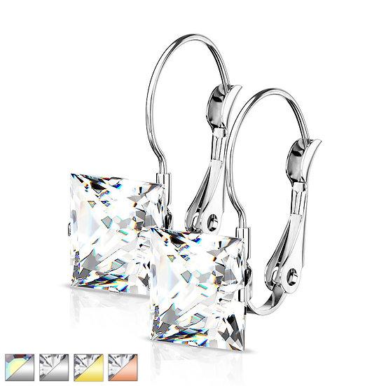 Square Diamond Dangle Earrings