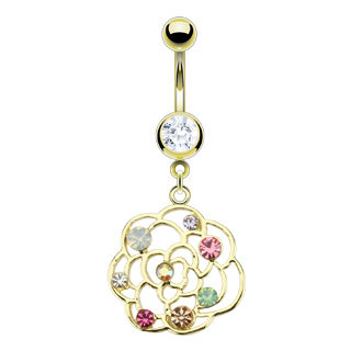 YELLOW GOLD BLOSSOM FLOWER NAVEL BELLY BUTTON RING