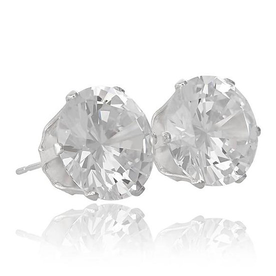 5mm Coloured Cubic Zirconia Sterling Silver Stud Earrings