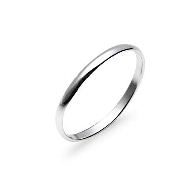 Solid Sterling Silver 2mm Thin Plain Unisex Wedding Band Ring