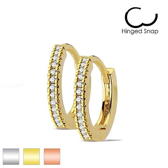 PETITE SIMULATED DIAMOND SILVER HUGGIE EARRINGS