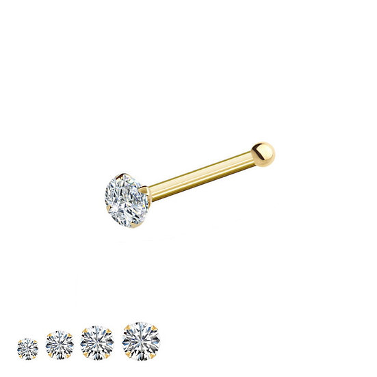 9K YELLOW GOLD DIAMOND NOSE BONE STUD